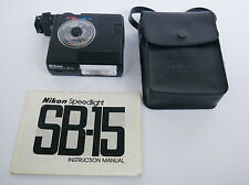 NIKON Speedlight SB-15 Flash + SS-15 Pouch and Original Manual