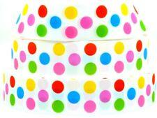 "Grosgrain Ribbon 7/8"" 1.5"" Multi Color Polka Dot Gumball Bubble Dots Printed"