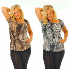 Off-the-Shoulder Animal Print Plus Size Tops & Shirts for Women