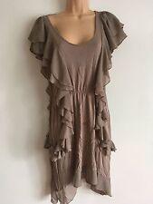 H&M Dark Beige Frilly Ruffle Cap Sleeved Dress Size L