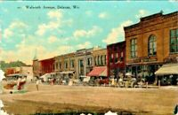 Vintage Postcard Delavan Wisconsin c.1907-1915 Walworth Ave Old Car Horse Buggy