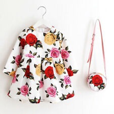 Toddler little kids girl cotton formal floral dress bag set long sleeve