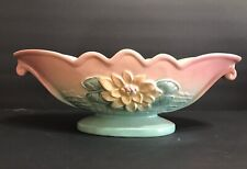 Rare Vintage 1940's Hull Art Pottery Usa Water Lily Console Bowl L-21-13 1/2