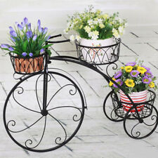 3 TIER Black Metal  Bicycle Pot Plant Stand Home Garden Study Patio Decor Beauty