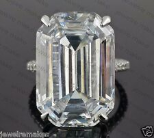 1925 Sterling Silver Celebrity insp 25ct Solitaire big Emerald Cut Studded shank