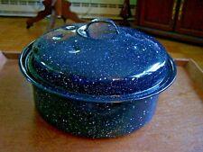 BLACK SPECKLED ENAMEL/GRANITEWARE ROUND ROASTING PAN WITH LID-VINTAGE-UNMARKED