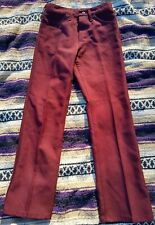 Vintage 70s Nos Men's Wrangler Burgundy Dark Red 29x30 Boot Cut Tousers Pants
