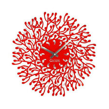 Metal Wall Clock Modern Unique Large Unusual Steel Red Harmony FREE SHIPPING