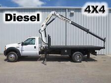 F550 DIESEL 4X4 4 WHEEL DRIVE FLATBED KNUCKLE BOOM LIFT CRANE SERVICE TRUCK