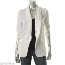 AQUA $88 NEW White Solid Ruched Elbow Sleeves Open-Front Blazer Jacket SMALL QCO