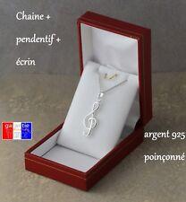 pendentif clé de sol en Argent Massif véritable 925  avec chaine et boite ecrin