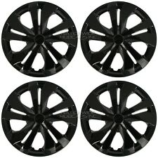 "4 Black fits 2007-2020 Nissan Versa 15"" Snap On Hub Caps Wheel Rim Full Covers"
