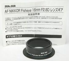 Sea & Sea Focus Gear For Nikon AF Nikkor Fish-Eye 16mm F2,8D. Unused.