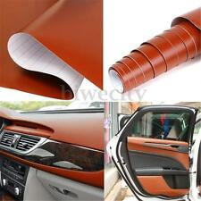 "Brown Car Interior Film Vinyl Sticker DIY 3D Leather Texture Decoration 12""x 59"""
