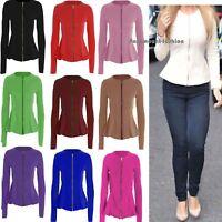 Womens Ladies Zip Peplum Ruffle Plus Size Tailored Blazer Jacket Top Size (8-26)