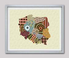 Art Poland Map Print Warsaw Travel Poster Painting Abstract Home Wall Decor 8x10