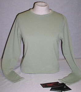 $75 NEW SPYDER SHIRT THERMAL BASE LAYER THRILL FUNC CREW NECK WOMENS 6 UK 8
