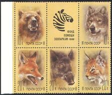 RUSSIE 1988 animal/Wolf/chat/ours/Zebra 5v+lbl BLK b6572