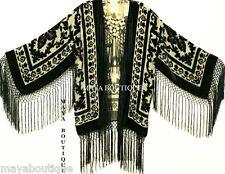 Maya Matazaro Fringe Jacket Kimono Bolero Silk Burnout Velvet Beige & Black