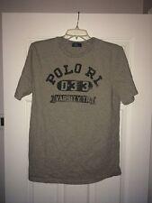 Mens Polo Ralph Lauren RL Varsity Track Short Sleeve T Shirt D3 Gray sz Small