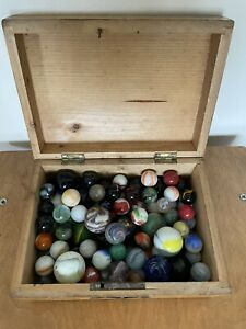 Collection Of 80+ Interesting Old Marbles In A Vintage Wooden Box JOB LOT