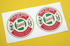 VESPA SCOOTER retro 'CASTROL' ISLE OF MAN 1960 RALLY stickers decals 1 pair
