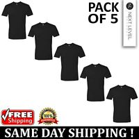 5 PACK OF Next Level Plain Mens Black T Shirt S to XL Blank Cotton T-Shirt Tee