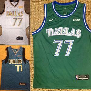 #77 Luka Doncic Dallas Mavericks Men's City Edition White/Green/Navy Jersey