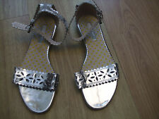 BODEN sandals size 4 ==37 LEATHER  SILVER ANKLE STRAPE FLATS