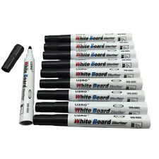 10 Large Black Dry Wipe Pens White Board Markers Bullet Tip. UK Based Seller NEW