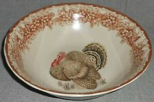 Gooseberry Patch Thanksgiving Table Theme Round Serving Bowl Turkey Motif