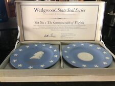 Wedgewood Original Us Colony State Seal Pair Boxed Compotiers-Open Box