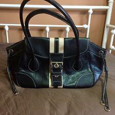 Authentic Prada BR2937 Black Vitello Daino Leather with Tan Racing Stripe