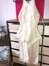 2500$ Herve Leger Runway White Textured  Bandage Cocktail Party Dress Small XS