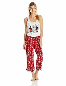 Womens Pajamas Disney Mickey Mouse Minnie Size Small, Medium Cotton Set NEW NWT