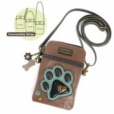 Chala Cell Phone Crossbody Bag Teal Blue Dog Paw Print Convertible Strap New