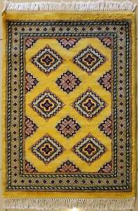 Rugstc 2x3 Bokhara Jaldar Yellow  Rug, Hand-Knotted,Geometric with Silk/Wool