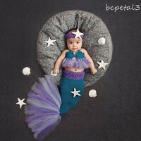Newborn Baby Girl Mermaid Crochet Knit Costume Photo Photography Prop Outfits