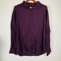 Johnny Bigg By Tarocash Mens Eggplant Paisley Long Sleeve Collared Shirt 3XL