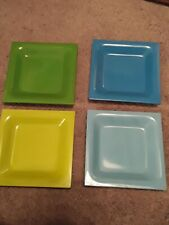 4 Zak Designs Appetizer Blue, green & yellow Square Plates/Dishes 4 3/4x 4 3/4