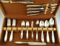 "46 Pcs 1847 Rogers Bros. Int. Silver Co. ""Ambassador"" Antique Silver Plate w/Box"