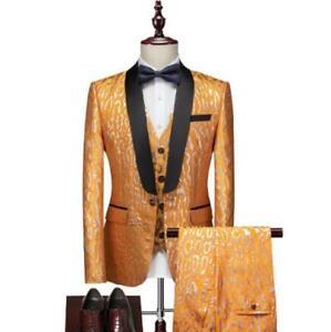 Mens 3Pcs Jacket+Vest+Pants Business Wedding Nightclub Slim Fit Suits One Button