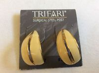 Surgical steel post Signed Trifari Gold tone cream color enamel  Earrings