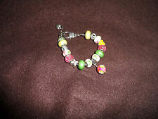European bracelet with 15 beads and Vera Bradley Lilly Bell pattern dangle