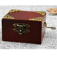 Vintage Square Hand Crank Music Box Child Gift Castle in the Sky