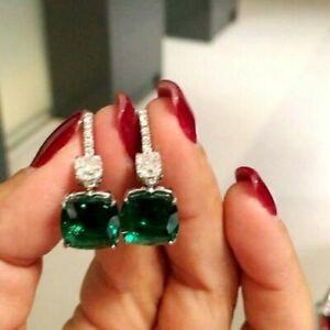 4Ct Cushion Cut Green Emerald Drop & Dangle Earrings 14K White Gold Finish