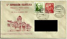 SOBRE PRIMER DIA. Iª EXPOSICIÓN FILATELICA. VILANUEVA Y GELTRÚ. 1952