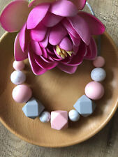 New Silicone Sensory (was teething) Necklace for Mum Gift Aus Pink Jewellery