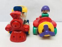 Vintage Tomy Toys Push N Go Helicopter & Train Toddler Preschool Toy Vehicles