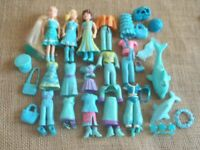 """Polly Pocket Dolls Lot """"Colors of the Rainbow"""" Blue Pet Clothes Rubber 6-68"""